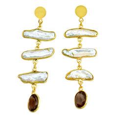 18.10cts natural white pearl handmade14k gold dangle earrings t16357