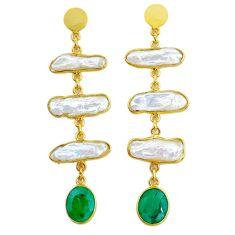 17.53cts natural white pearl handmade14k gold dangle earrings t16575