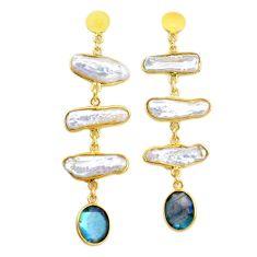 19.98cts natural white pearl handmade14k gold dangle earrings t16676