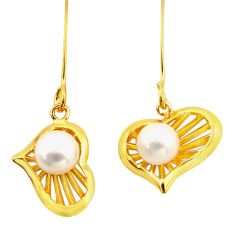 3.83cts natural white pearl 925 silver 14k gold heart love earrings c26686