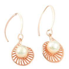 Natural white pearl 925 sterling silver 14k gold dangle earrings c23920