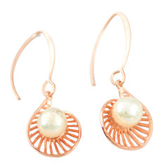 Natural white pearl 925 sterling silver 14k gold dangle earrings c23954