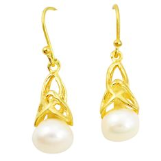 Natural white pearl 925 sterling silver 14k gold dangle earrings c23988