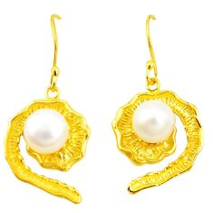 Natural white pearl 925 sterling silver 14k gold dangle earrings c23997