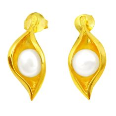 Natural white pearl 925 sterling silver 14k gold dangle earrings c24043