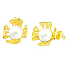 9.42cts natural white pearl 925 sterling silver 14k gold stud earrings c24058