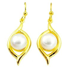 13.90cts natural white pearl 925 sterling silver 14k gold dangle earrings c24072