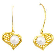Natural white pearl 925 sterling silver 14k gold dangle earrings c24086