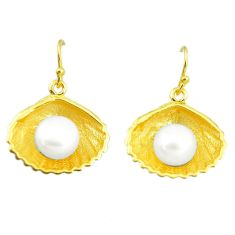 12.83cts natural white pearl 925 sterling silver 14k gold dangle earrings c24090