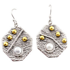 2.46cts natural white pearl 925 sterling silver 14k gold dangle earrings r37234