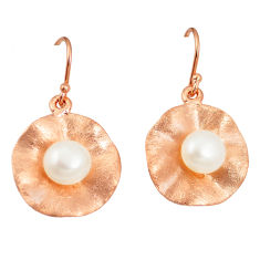 Natural white pearl 925 sterling silver 14k gold earrings jewelry c23942