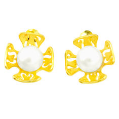 Natural white pearl 925 sterling silver 14k gold earrings jewelry c23987