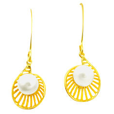Natural white pearl 925 sterling silver 14k gold earrings jewelry c24068
