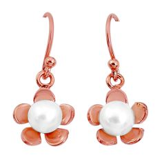 2.93cts natural white pearl 925 sterling silver 14k gold flower earrings c23908