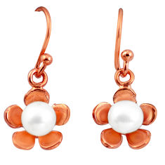Natural white pearl 925 sterling silver 14k gold flower earrings jewelry c23901
