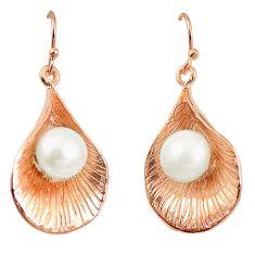 Natural white pearl 925 sterling silver 14k rose gold dangle earrings c23922