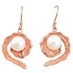 Natural white pearl 925 sterling silver 14k rose gold dangle earrings c23926