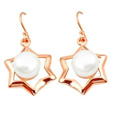 Natural white pearl 925 sterling silver 14k rose gold dangle earrings c23928
