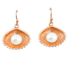 Natural white pearl 925 sterling silver 14k rose gold dangle earrings c23930