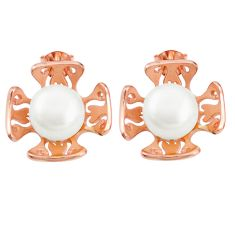 Natural white pearl 925 sterling silver 14k rose gold earrings jewelry c23931