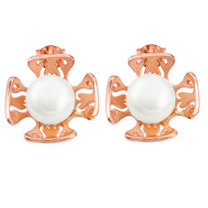 Natural white pearl 925 sterling silver 14k rose gold earrings jewelry c23941