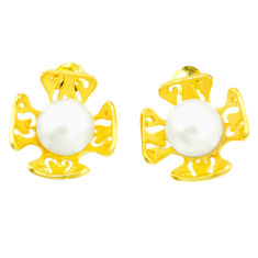 Natural white pearl 925 sterling silver 14k rose gold earrings jewelry c24070