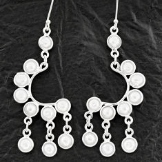 18.15cts natural white pearl 925 sterling silver chandelier earrings d39874