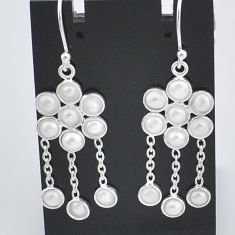 8.46cts natural white pearl 925 sterling silver chandelier earrings t4648