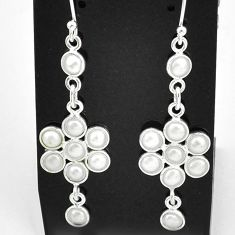 5.86cts natural white pearl 925 sterling silver chandelier earrings t4754