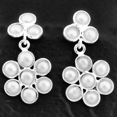 5.79cts natural white pearl 925 sterling silver chandelier earrings t4792