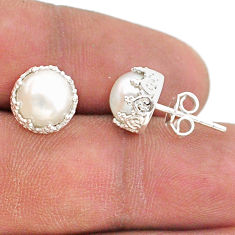 6.29cts natural white pearl 925 sterling silver crown stud earrings t43674