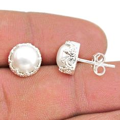 6.68cts natural white pearl 925 sterling silver crown stud earrings t43690