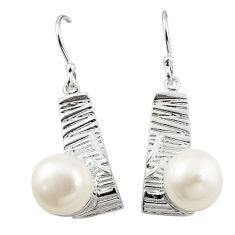 Natural white pearl 925 sterling silver dangle earrings jewelry c23723