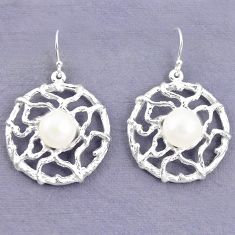 Natural white pearl 925 sterling silver dangle earrings jewelry c23733