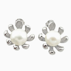 Natural white pearl 925 sterling silver dangle earrings jewelry c23736