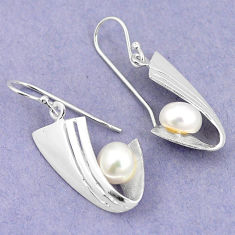 Natural white pearl 925 sterling silver dangle earrings jewelry c23737