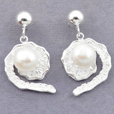Natural white pearl 925 sterling silver dangle earrings jewelry c23754