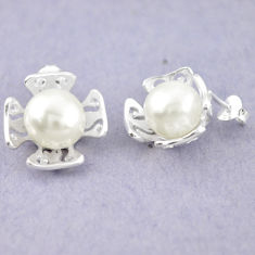 Natural white pearl 925 sterling silver dangle earrings jewelry c23759