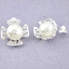 Natural white pearl 925 sterling silver dangle earrings jewelry c23765