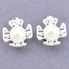Natural white pearl 925 sterling silver stud earrings jewelry c23801