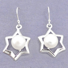 Natural white pearl 925 sterling silver dangle earrings jewelry c23805