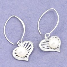 Natural white pearl 925 sterling silver dangle earrings jewelry c23809