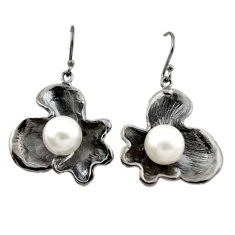 Natural white pearl 925 sterling silver dangle earrings jewelry c24147