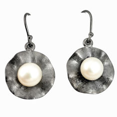 Natural white pearl 925 sterling silver dangle earrings jewelry c24149