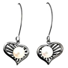 Natural white pearl 925 sterling silver dangle earrings jewelry c24155