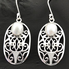6.32cts natural white pearl 925 sterling silver dangle earrings jewelry d40035