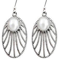 Clearance Sale- 6.57cts natural white pearl 925 sterling silver dangle earrings jewelry d40082