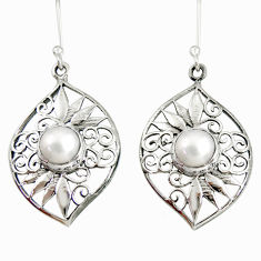 Clearance Sale- 6.18cts natural white pearl 925 sterling silver dangle earrings jewelry d40089