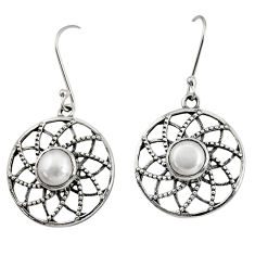 Clearance Sale- 4.93cts natural white pearl 925 sterling silver dangle earrings jewelry d40121