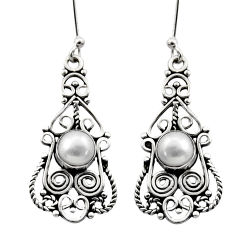 2.56cts natural white pearl 925 sterling silver dangle earrings jewelry d40681